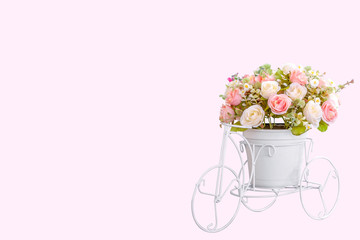 Flower on modern pot on white bike design isolated on pink background, clipping path.