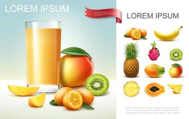 Realistic Fresh Fruit Juice Composition