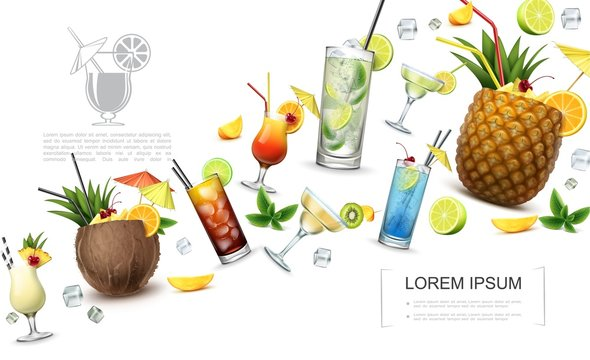 Realistic Alcoholic Drinks Concept