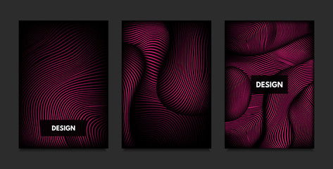 Wave. Abstract Geometry. Cover Design Templates Set with 3d Effect. Vibrant Gradient with Wavy Lines. Trendy Pink Modern Illustration with Distortion. Vector Wave for Brochure, Business, Poster, Book.