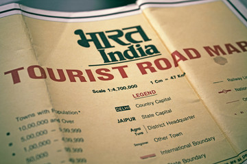 Old tourist map of India. Map legend.