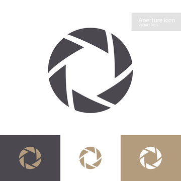 Lens symbol set isolated on background. Aperture icon. Camers objective icon. Shutter for photography logo, web design. Vector 10 eps