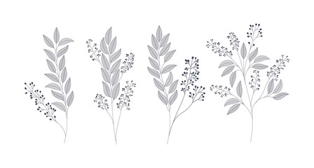 set of monochrome laurel leafs