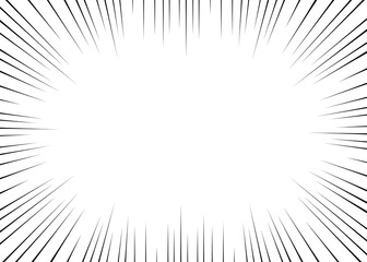 Vector black radial lines for comics, superhero action. Manga frame speed, motion, explosion background. Design element isolated white background.