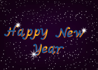 Vector illustration of happy New year font with glitter star letters. 3D lettering style rendering bubble font. Color blue yellow red.