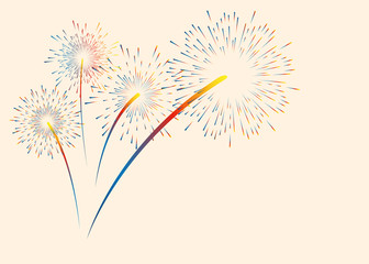 Colorful color fireworks. Vector illustration for Christmas, new year, anniversary and other holidays. Place for text.