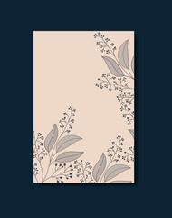 card with monochrome floral decoration