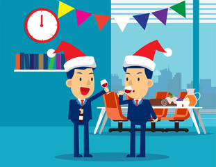 Business people celebrate merry christmas and happy new year. Concept business vector illustration, Christmas, Alcohol, Holiday & Event