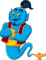 Cartoon Genie coming out of a magic lamp