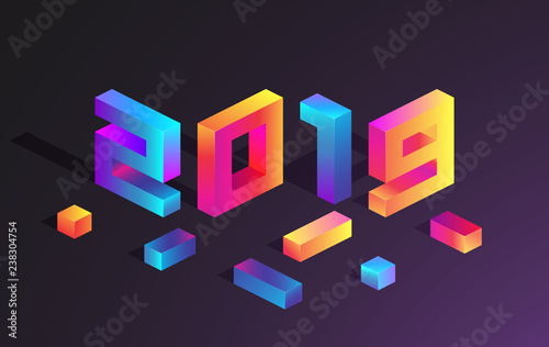 purple 2019 new year card with bright neon 3d figures