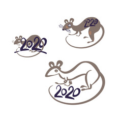 Rat 2020. Simple drawn symbols year of the Rat 2020 on the Chinese calendar. Vector template handwritten figures.