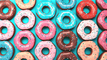 3d rendering picture of tasty donuts on turquoise background. View from above.
