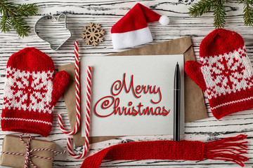 MERRY CHRISTMAS handwritten inscription. Winter holiday concept.