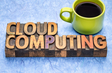 Wall Mural - cloud computing word abstract in wood type