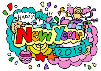 Happy new year hand drawn style
