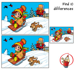 Winter holidays. Sledding little girl, skiing boy, dog and snowman. Find 10 differences. Educational game for children. Cartoon vector illustration
