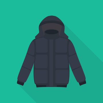 jacket icon in flat style with long shadow, isolated vector illustration on green transparent background. Winter clothing.