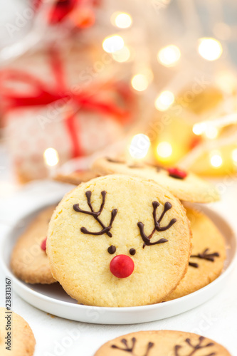 Homemade Reindeer Cookies Decorated Chocolate And Red Candies On A