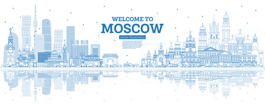 Outline Welcome to Moscow Russia Skyline with Blue Buildings and Reflections.