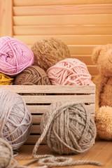 Woolen yarn and fabric on the window sill.