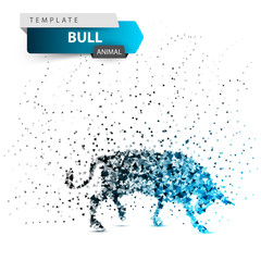 Bull dott illustration. Splatter, glare, ice.