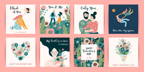 Romantic set of cute illustrations. Vector design concept for Valentines Day and other users.
