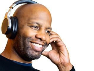Man Enjoys Audio Headphones