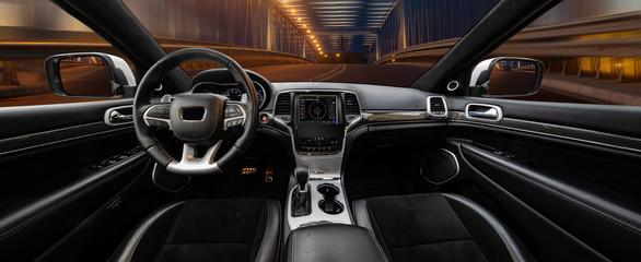Modern luxury car Interior,travel concept