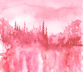 Aluminium Prints Candy pink Watercolor landscape. Picture of a pine forest, a pink silhouette of trees and bushes. pinks plash of paint.Abstract splash of paint, fashion illustration.Morning landscape, forest. Reflection of tree