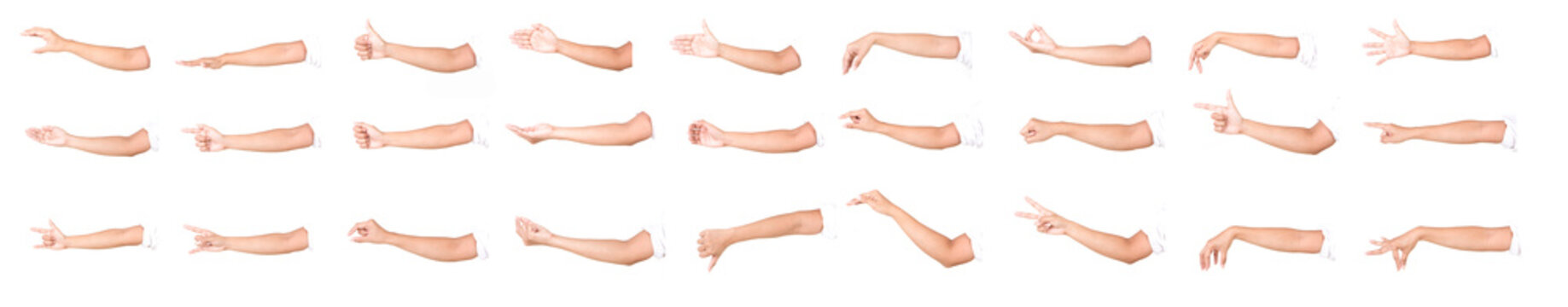 Multiple female caucasian hand gestures isolated over the white background, set of multiple images