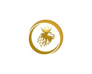 Lion king icon logo template vector