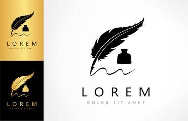 pen feather logo vector