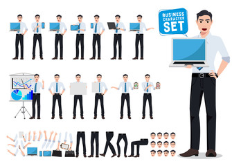 Male business person vector character creation set with young professional man holding laptop showing computer screen in different posture for business presentation. Vector illustration.