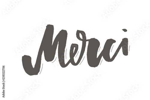 merci french word meaning thank you custom hand lettering for your