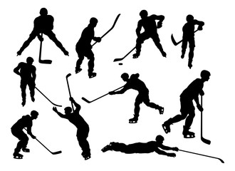 A set of detailed silhouette hockey players in lots of different poses
