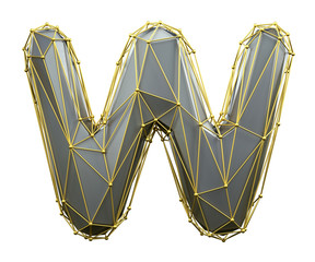 Capital latin letter W in low poly style silver and gold color isolated on white background. 3d