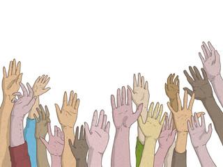 Mani di uomini e donne alzate in richiesta di aiuto o segnalare la presenza