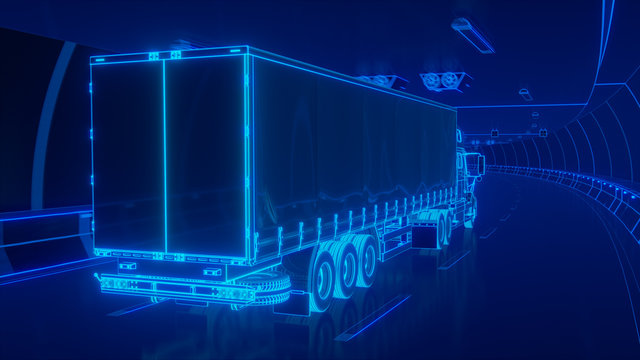 Blue glowing Trailer Truck rides through Blue tunnel 3d rendering