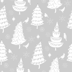 Christmas  Seamless Pattern with Birds, Christmas Trees and Snow