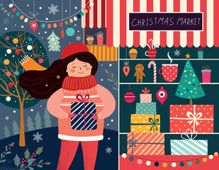 Illustration with girl and Christmas gifts. Christmas Market