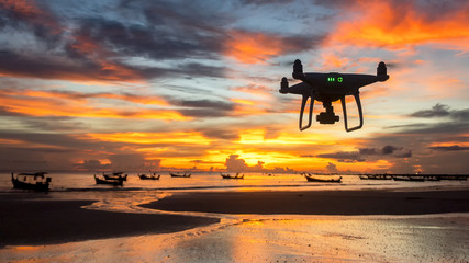 Drone photography take a aerial view picture for travel cinema during sunset time