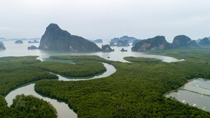 Aerial view of mangroves at phang nga thailand