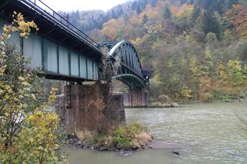 Railway bridge over Váh river between Starhrad castle and Strečno castle, Žilina region, Slovakia
