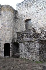 Courtyard of Strečno castle in Žilina region, Slovakia
