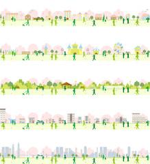 街並み 桜 春 セット