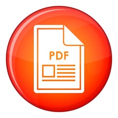 File PDF icon in red circle isolated on white background vector illustration