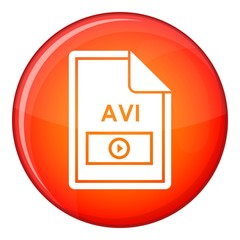 File AVI icon in red circle isolated on white background vector illustration