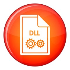 File DLL icon in red circle isolated on white background vector illustration