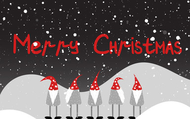 Cute unusual gnomes. Festive greetings. Christmas card. Vector illustration.