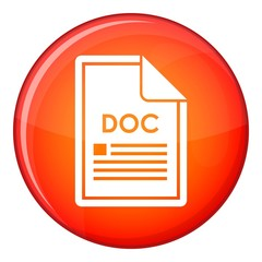 File DOC icon in red circle isolated on white background vector illustration